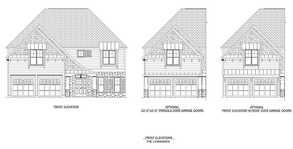Front elevation plan for the Lynnhaven home plan from Craig Builders.