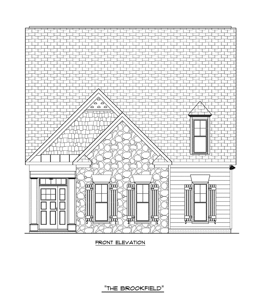 Craig Builders front elevation for Brookfield Courtyard home plan