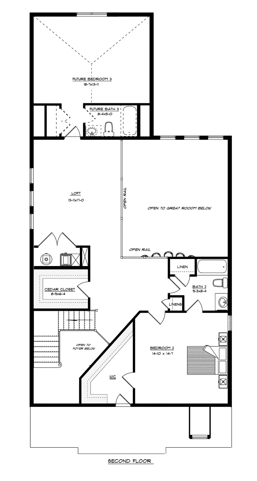Craig Builders second floor floorplan for the Brookfield Courtyard home plan