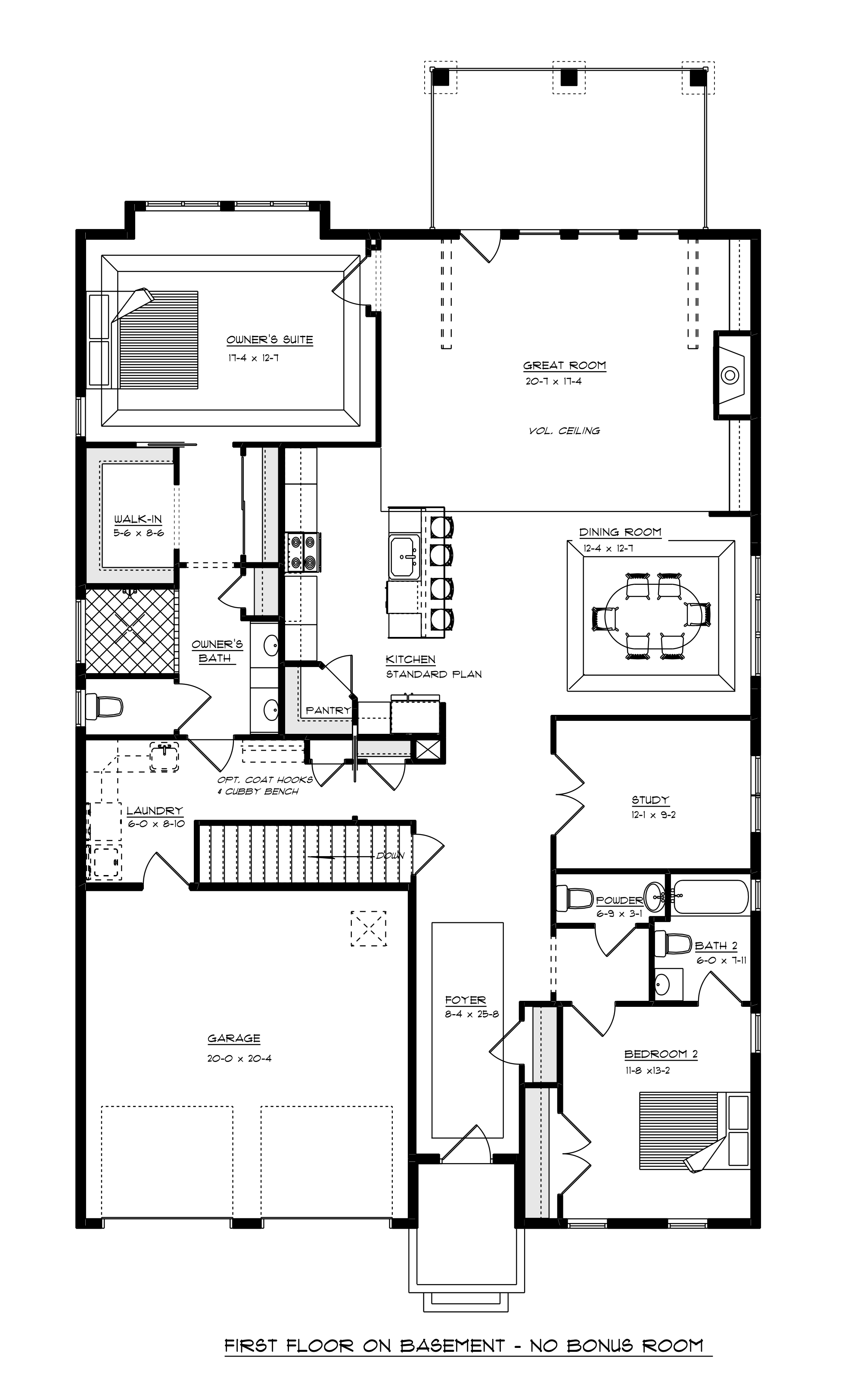 Floor plan of first floor when built on basement