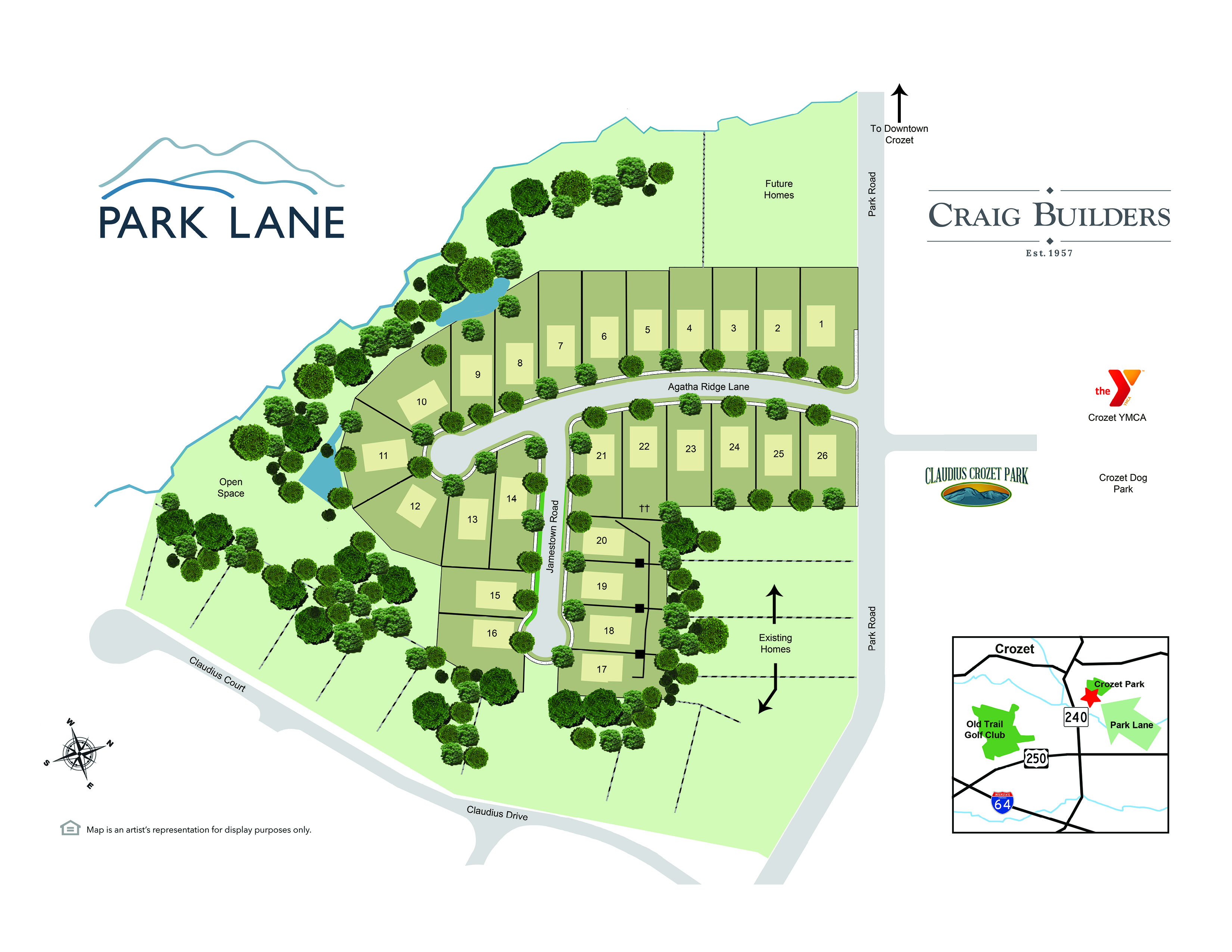 A map of the Park Lane Community to be built by Craig Builders in Crozet, VA