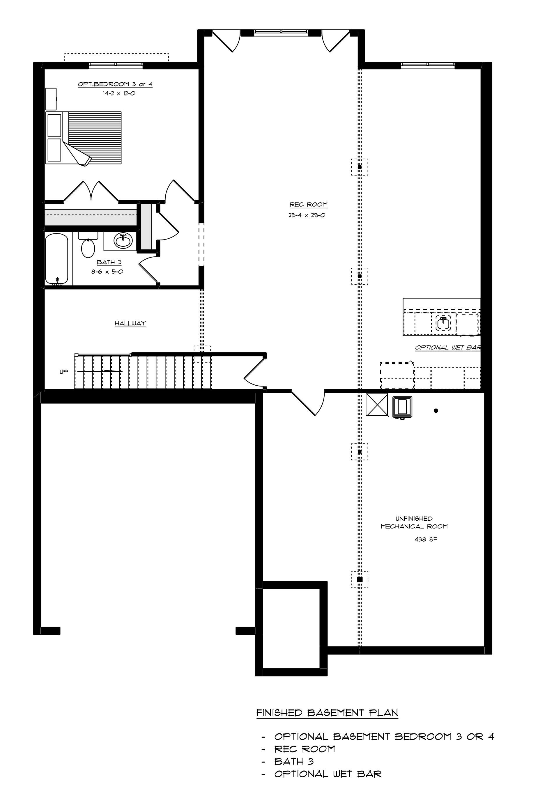 Pavilion Optional Finished Basement with 1 Bedroom