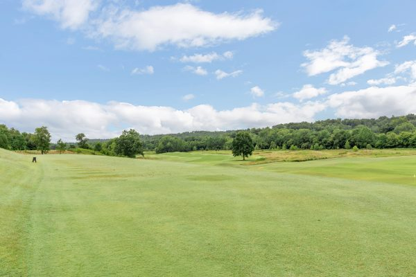 Idyllic view of Glenmore golf course, surrounded by trees against a blue sky