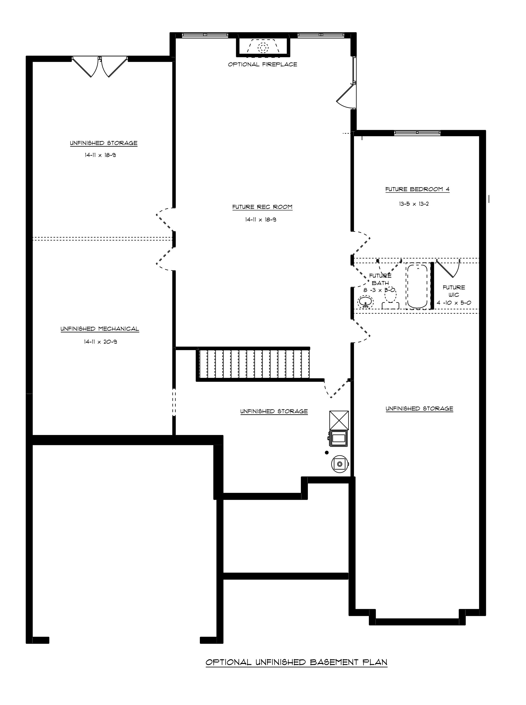 Williamsburg Optional Basement Floor Plan