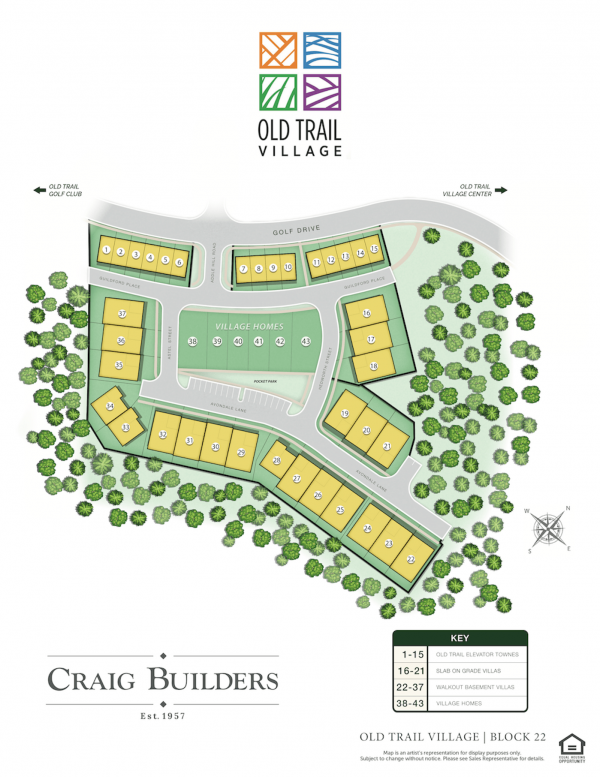 Site Map of Old Trail Village Block 22 built by Craig Builders